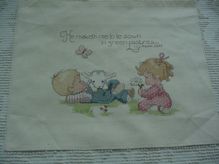 Boy and Girl Cross-Stitch Design ~ with Bible Verse ~ Completed