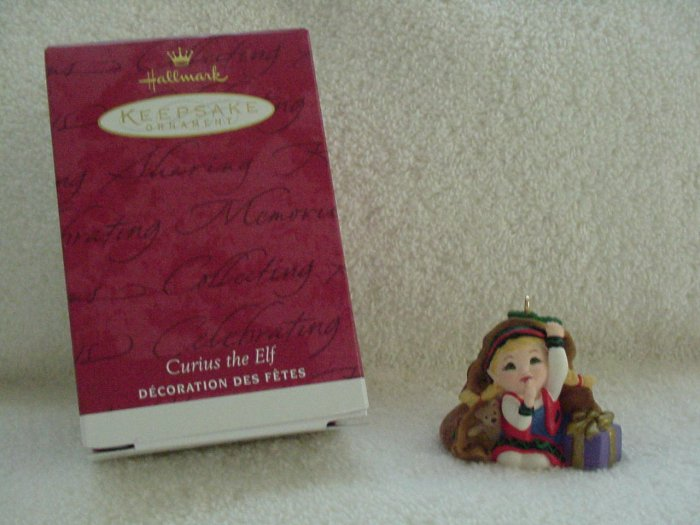Hallmark Ornament ~ The Night Before Christmas:  Curius The Elf 2001 ~ Tammy Haddix ~ Member Club