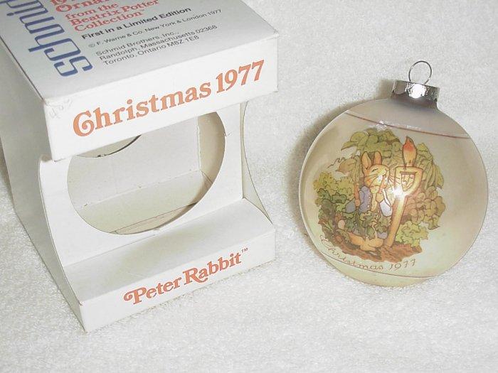 Schmid Glass Ornament ~ Beatrix Potter ~ Peter Rabbit 1977