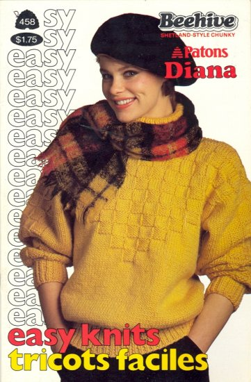 Easy Knits ~ Sweaters ~ Knit Pattern 1985