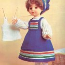 "Vintage Knit Peasant Outfit for a Doll Pattern ~ will fit Sasha or 16"" doll ~ 1972"