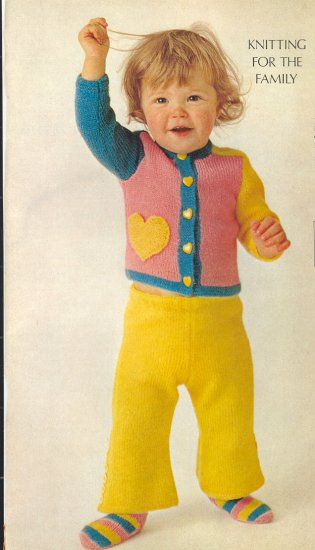 Vintage Knit Toddler Pants, Cardigan and Socks Pattern ~ Suit of Heart of Gold ~ 1973