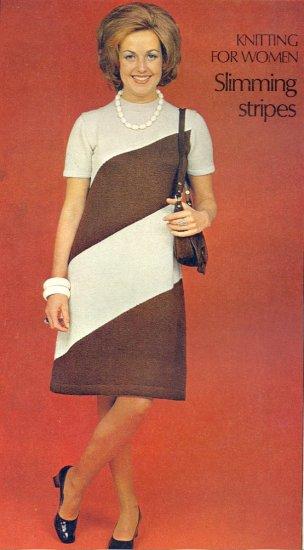 Vintage Knit Slimming Stripes Dress Pattern ~ Woman's Sizes ~ 1973