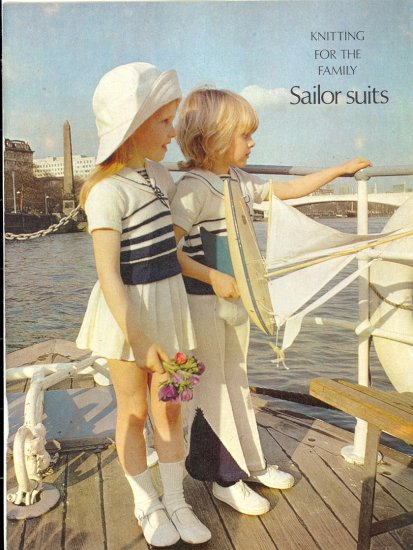 Vintage Knit Sailor Suits Children's Pattern ~ (Boy and Girl) ~ 1974