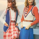 Vintage Knit Cheers Red White & Blue Pattern ~ Sleeveless Cardigan Pullover & Jacket 4 styles ~ 1973
