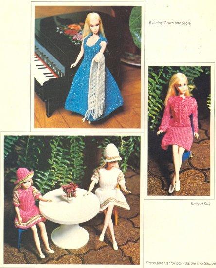 Vintage Barbie & Skipper Knit Patterns ~ Evening Gown & Stole, Suit & Dress & Hat ~ 1970's