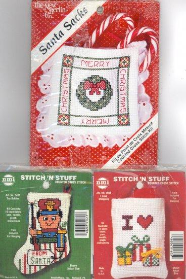 3 Christmas Ornaments ~ I Love Shopping, Santa Sacks & Toy Soldier ~ Cross-Stitch Kits