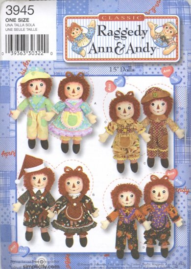 "Raggedy Ann & Andy Sewing Pattern ~ Simplicity 3945 ~ 15"" Dolls & Seasonal Clothes"