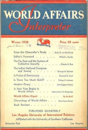 World Affairs Interpreter Book ~ Winter 1938