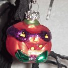 Masked Pumpkin ~ Halloween Blown Glass Ornament