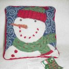 Snowman Needlepoint Pillow ~ NEW