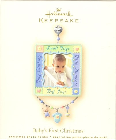 Hallmark Ornament ~ Baby's First Christmas 2007 ~ Holds Photo