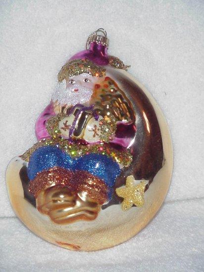 Santa on the Moon ~ Blown Glass Ornament