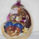Santa on the Moon ~ Blown Glass Ornament