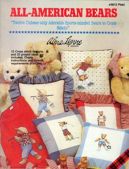 All-American Bears ~ Cross-stitch Booklet Alma Lynne ~ 1985