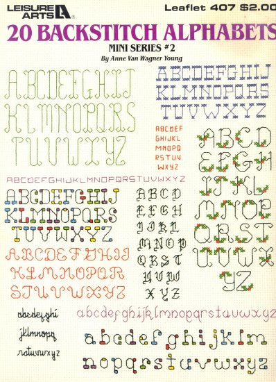 20 Backstitch Alphabets by Anne Van Wagner Young ~ Cross-Stitch Chart 1985