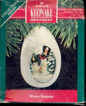 Hallmark Ornament ~ Winter Surprise 1990 ~ Penguins