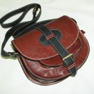 Two-toned red-wine & black Leather Bag Messenger Shoulder Crossbody Bag Goldmann size S
