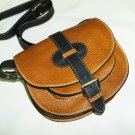 Two-toned Caramel & black Leather Bag Messenger Shoulder Crossbody Bag Goldmann size S