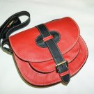 Two-toned Red & Black Leather Bag Messenger Shoulder Crossbody Bag Goldmann size S