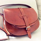 Medium brown leather bag messenger shoulder crossbody bag Goldmann XL