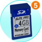 5 (Five) - SD cards (4 GB) for use with today's portable electronics.