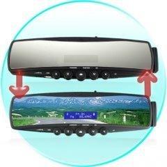 Bluetooth Car Rearview Mirror (MP3 Player, FM Radio, Mini-LCD)