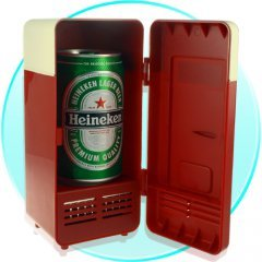 USB Powered Cooler + Heater - Retro Refrigerator Design