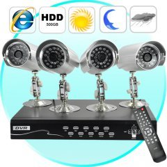 Security Camera + DVR Kit - 4 Cameras and Surveillance Recorder