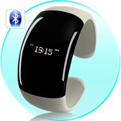 Ladies Bluetooth Fashion Bracelet with Time Display - Pearl White (Call Vibration, Caller ID)