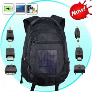 Solar Battery Charger Backpack - 2200mAh, 2.4W Solar Panel