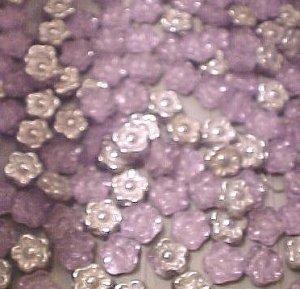 Flower 25 Alexandrite Silver Backed Glass Mini Beads