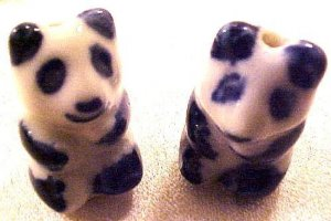 Panda 6 Blue + White Porcelain Beads
