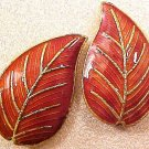 Leaves Cloisonne 4 Chestnut Red Beads
