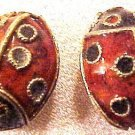 Ladybug 2 Red Cloisonne Beads