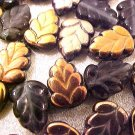 Leaves Serrated 25 GoldCopperBronzeon Black Glass Beads