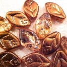 Leaves Dotted 25 Copper Glass Beads