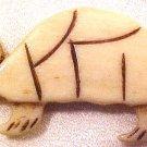 Turtle Carved Bone Flat Bead