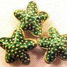Starfish 5 Green Cloisonne Beads