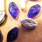 Leaves 6 Tiny Cobalt and Silver Glass Beads