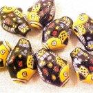 Fish Goldfish 5 Black + Yellow Porcelain Beads