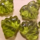 Leaves Maple 25 Olive Green Glass Beads
