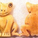 Frog Carved Flat Sitting Bone Bead
