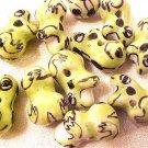 Frog 6 Light Green Porcelain Beads