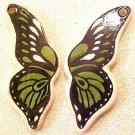 Butterfly Monarch Green Porcelain Wings Beads