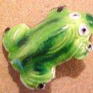 Frog 2 Metal Enameled Green Bead
