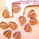 Leaves 25 Amber Brown Colored Glass Beads