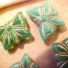Butterfly 10 Large Green with Gold Beads