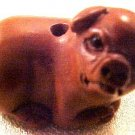 Pig Carved Ojime Bead Sitting