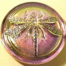 Dragonfly Silver on Lavender Opaque Glass Button